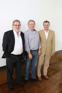 E. Dreke mit seinen neuen Flügelmännern J. Kyas (l) und M. Müller (r)